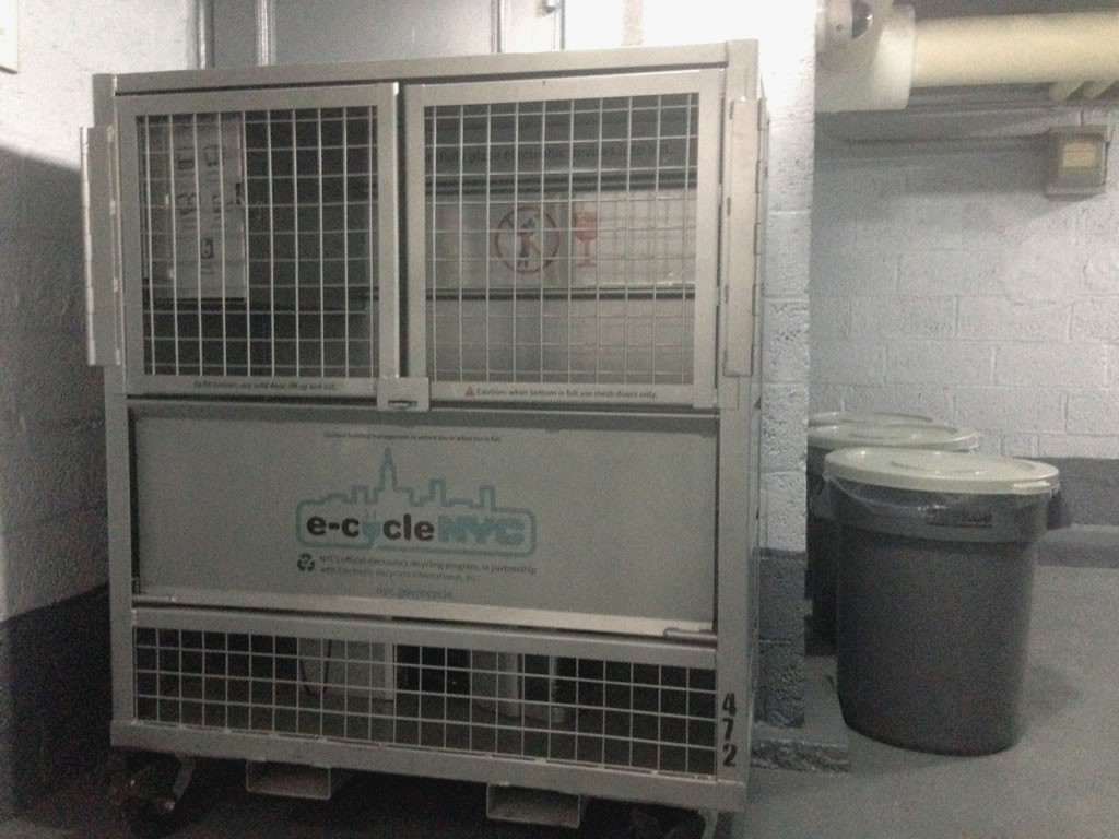 e-cycleNYC receptacle in the basement of 37 Nagle Avenue
