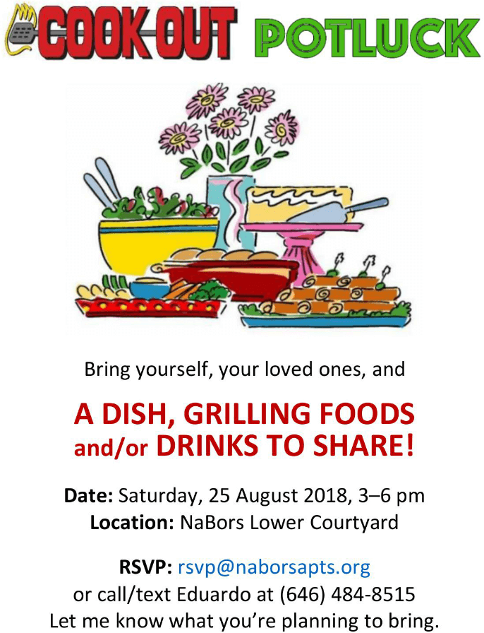 Cook-out/potluck gathering, Saturday, 25 August 2018, 3–6pm
